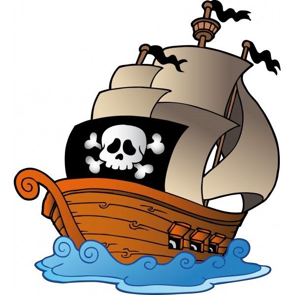 Pirate ship cartoon background