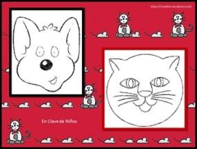 Fichas ratón y gato tres en raya